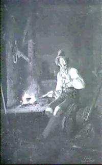 der wildschutz in der jagdhutte an der feuerstelle by friedrich simon