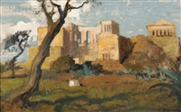 sketch of the acropolis by charles hoffbauer