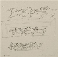 zum thema quadriga (3 studies on 1 sheet) by lothar fischer