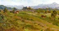 salzburg von bergheim mit göll und tennengebirge by albin müller-rundegg