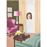 self-portrait in traditional living room by sandra scolnik