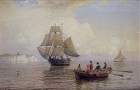 segelschiff und ruderboot vor den kreidefelsen von rügen by julius huth