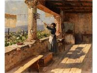 junge italienerin in einer loggia beim wäsche aufhängen by hermann hartwich