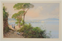 italian coastal scene with figures, the bay of naples with vesuvius in the distance by y. gianni
