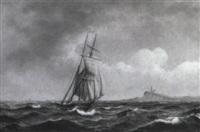 marine med sejlskib, i baggrunden fyrt+rn by jens thielsen locher
