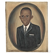 portrait of a well-dressed black child by american school (20)