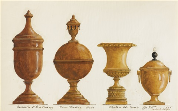 Quatre objets en bois tournÉ bureau place vendÔme by alexandre