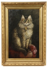 grey haired cat with bell on collar, seated on tuffet by percy a. sanborn