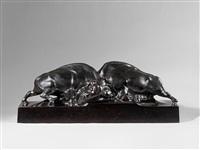 zwei kämpfende bisons by franz barwig the elder