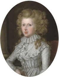portrait of a lady in a white lace dress by james scouler