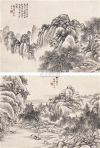 秋霜晴光 烟峦淡碧双挖 (landscape) (2 works on 1 scroll) by dai zhaodeng