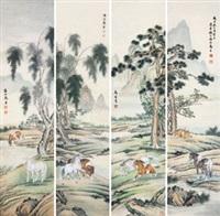 通景八骏图 (四件) 镜片 设色纸本 (4 works) by ma jin