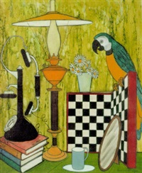 tabletop still life with parrot by denis paul noyer