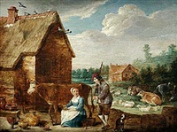 bondgård med figurer och kreatur by abraham teniers