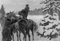 dragoner-patrouille im schnee by hugo klein