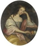 portrait of lady anne howard, wife of richard, 1st viscount preston, seated, three quarter length, wearing period costume by joseph wright (of derby)