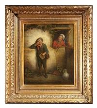 ein weinender lausbub wird von einer alten frau beobachtet by félix van den eycken