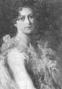 portræt af elegant ung kvinde by christian emil rosenstand
