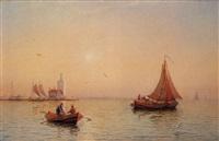 fischerboote vor dem leuchtturm von arcona auf rügen by julius huth