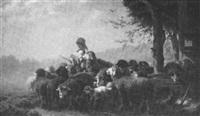 ein junges mädchen führt ihre schafherde aus den stallungen auf eine wiese by carl heinrich hoffmann