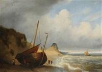 marine avec bateau de pêche sur la plage et figures by egidius linnig