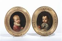 bambino con veste blu e mela (+ bambino con veste rossa e grappolo d'uva; pair) by antonio mercurio amorosi