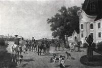 aufbruch zur jagd by ludwig cornelius-muller