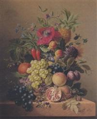 stilleben mit blumen, früchten und gemüse by arnoldus bloemers
