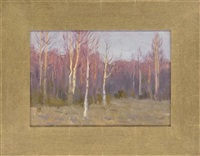 the sun setting over a wood (+ 5 others; 6 works) by leonid petrovitch baikov