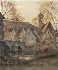 dorf mit brücke (die wörnitzbrücke in harburg/riess, harz?) by andreas bach