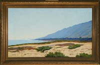 coastal scenery from agaccio, corsica, with mountains in the background by poul corona