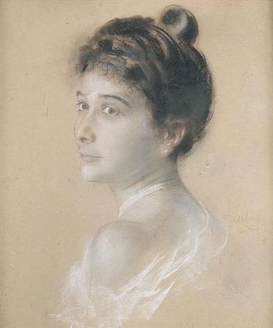 brustportrait einer dame im halbprofil by franz seraph von lenbach
