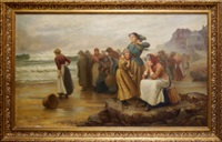 fisherfolk waiting on a shore with a harbour and village beyond by william harris weatherhead