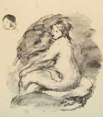 etude de femme nue assise, vanante by pierre-auguste renoir