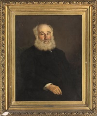 portrait of rev. henry thursby-pelham, in a black coat and white shirt by attilio baccani