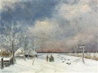 winterliche landschaft by gerard van der laan