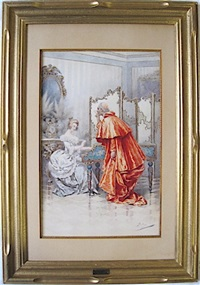 a cardinal watching a young woman playing the harpsichord by giuseppe aureli