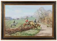 following hounds across a lane by arthur weaver