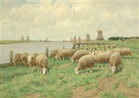 sheep grazing by a river with windmills in the background by frans van leemputten