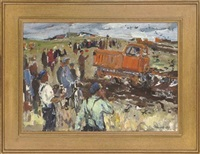 the ploughing competition (+ departing from the quay, 1967; 2 works) by leonid ignatevich vaishlya