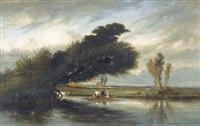 flussuferpartie mit boot und figurenstaffage by camille flers