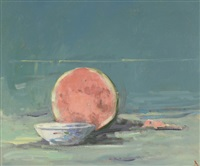 still-life with watermelon and bowl on a blue background by terry delapp