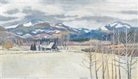 an eastern oregon winter landscape with blue mountains in background by therese albert