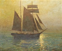 sailing vessel at sunset by charles david jones bryant