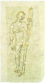 stehender mann mit stab by frank dornseif