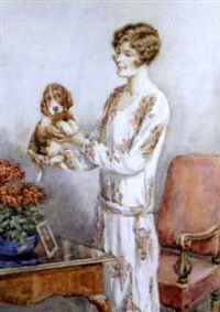 portrait of a lady holding a spaniel puppy by wilmot lunt