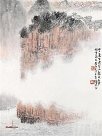 石涛诗意图 镜片 设色纸本 by qian songyan