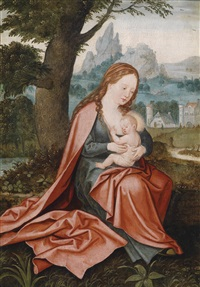 maria mit dem jesusknaben in einer weiten landschaft by joachim patinir