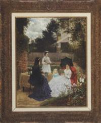 a garden repast by jules tavernier