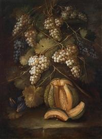ein stillleben von trauben und einer melone by gilardo da lodi